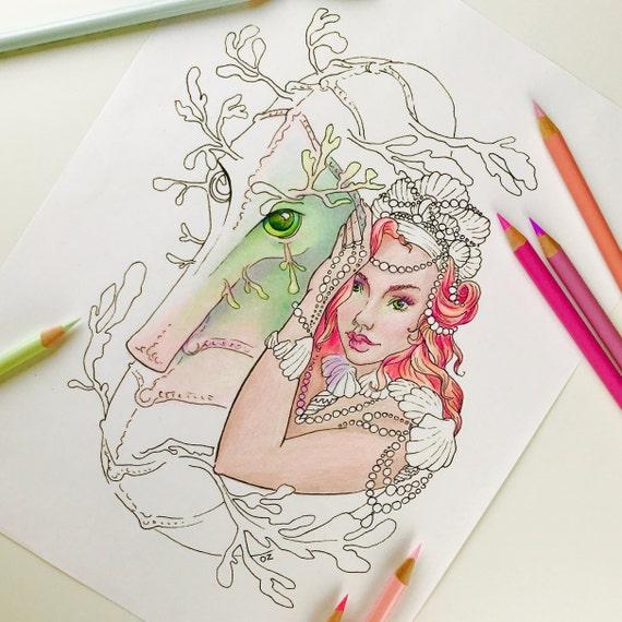 Erwachsenen Malseite Meerjungfrau Meerjungfrau Und Seepferdchen Malvorlagen Für Erwachsene Meerjungfrau Digitale Färbung Hand Gezeichneten Linie