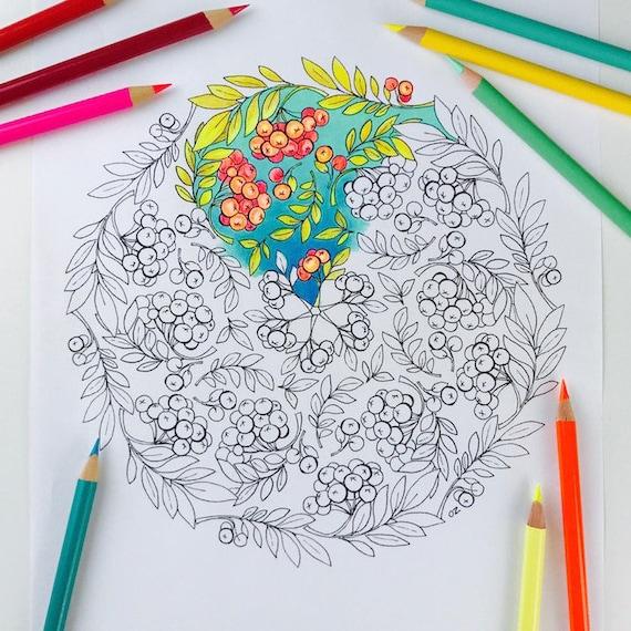 Mandala Pagina Herfst Kleurplaat Kleurplaten Voor Volwassenen Etsy