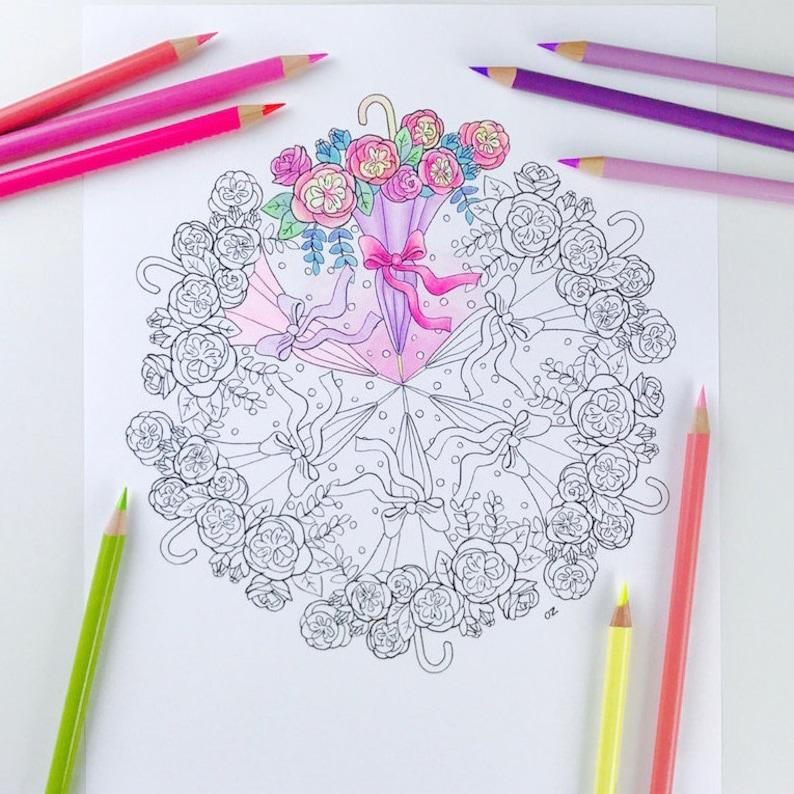 Coloriage En Ligne Printemps.Coloriage Mandala Coloriage Page Printemps Pour Adultes Etsy