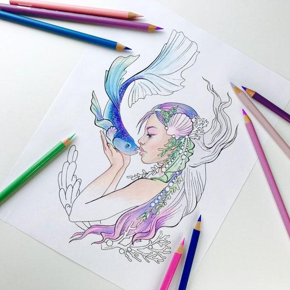 Erwachsenen Färbung Seite Meerjungfrau Küsse Meerjungfrau