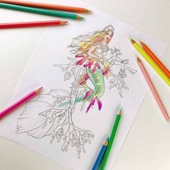 Erwachsenen Färbung Seite Mermaid Färbung Seite Für Erwachsene Fantasie Meerjungfrau Digitale Färbung Hand Gezeichneten Linie Kunst Von Olga