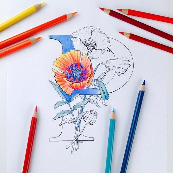 Coloriage Alphabet Fleur.Alphabet Coloriage De Fleurs Coloriage Coquelicot Lettres Etsy