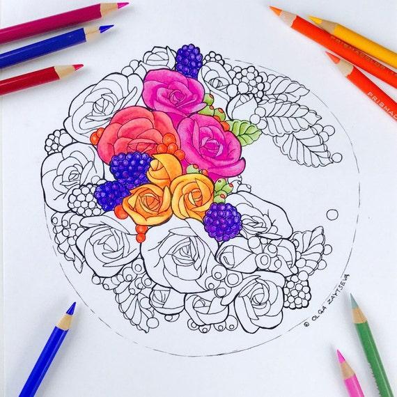 Erwachsenen Malvorlagen Ernte Herbst Blumen Malvorlagen für   Etsy