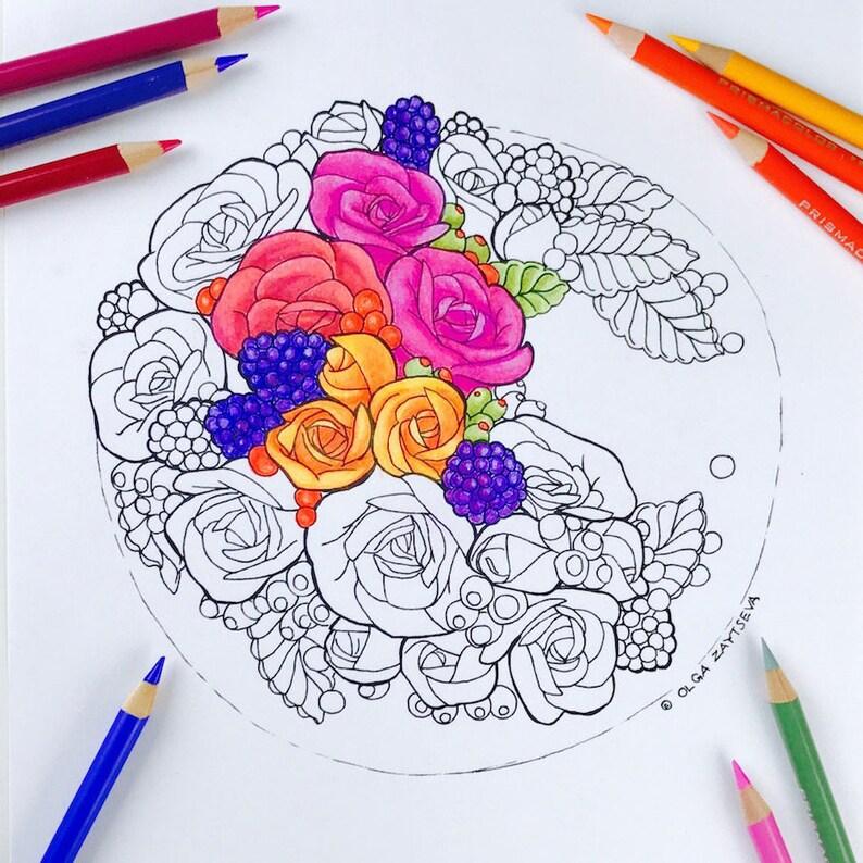 Kleurplaten Volwassenen Ingekleurd.Volwassen Kleurplaat Oogst Herfst Bloemen Kleurplaat Voor Etsy