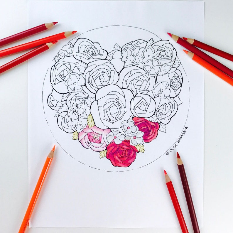 Volwassen Kleurplaten Hart.Volwassen Kleurplaat Valentijnsdag Hart Bloemen Kleurplaten Etsy