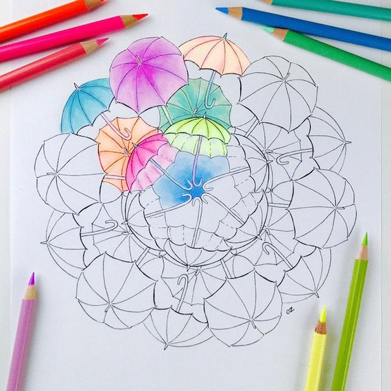 Umbrella Mandala coloring page | Printable Fall coloring page | Printable  mandalas | Printable Umbrella coloring pages for adults
