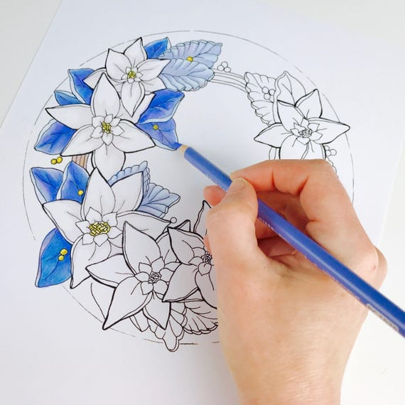 Erwachsenen Malvorlagen Weihnachten Weihnachtsstern Blume Malvorlagen Für Erwachsene Digitale Färbung Von Hand Gezeichnete Blumen Linie Kunst Von