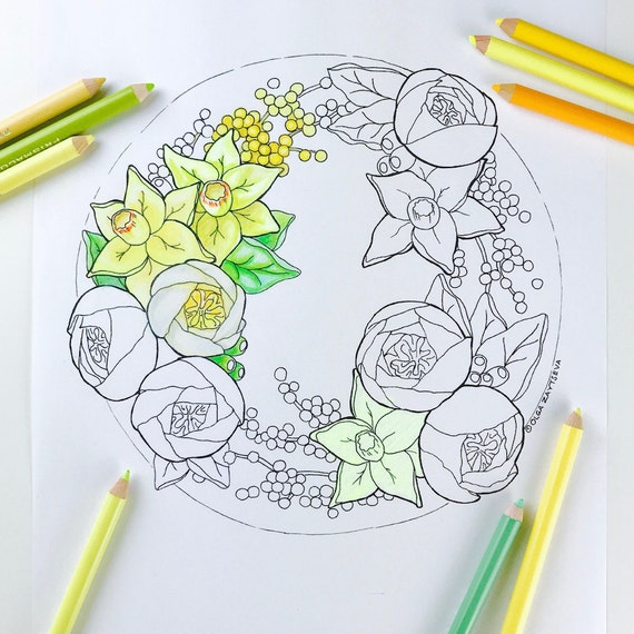 Adult Coloring Page Daffodil Flower Pages For