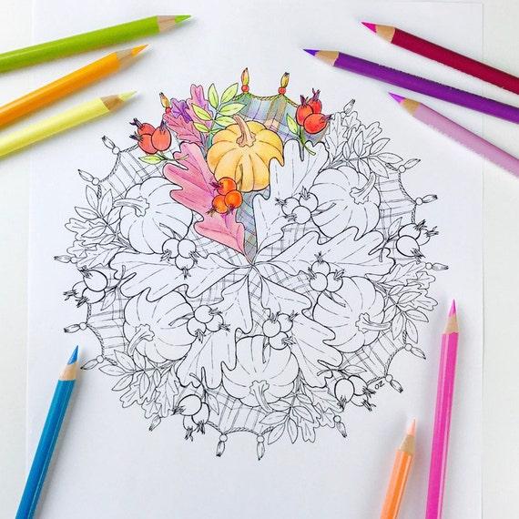 Kleurplaten Voor Volwassenen Herfst.Mandala Pagina Herfst Kleurplaat Kleurplaten Voor Volwassenen Beterschap Pompoen Mandala Digitale Kleuren Hand Getrokken Lijntekeningen Door Olga