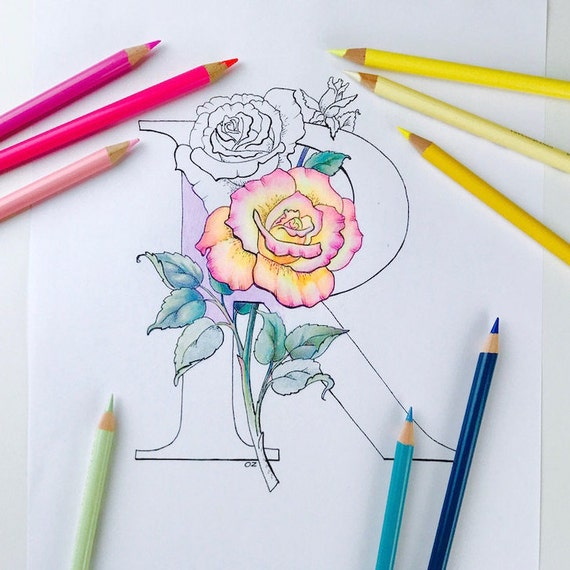 flower alphabet coloring page rose coloring page flower letters coloring pages printable coloring pages for adults floral letter r