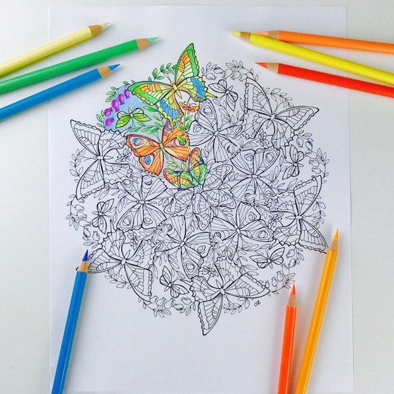 mandala coloring page butterfly coloring pages for adults get well soon butterfly mandala digital coloring hand drawn line art olga zaytseva
