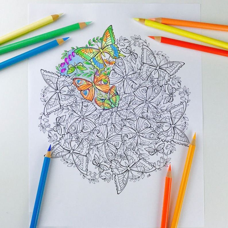 Mandala Coloring Page Butterfly Pages For Adults Get Etsyrhetsy: Butterfly Get Well Soon Coloring Pages At Baymontmadison.com