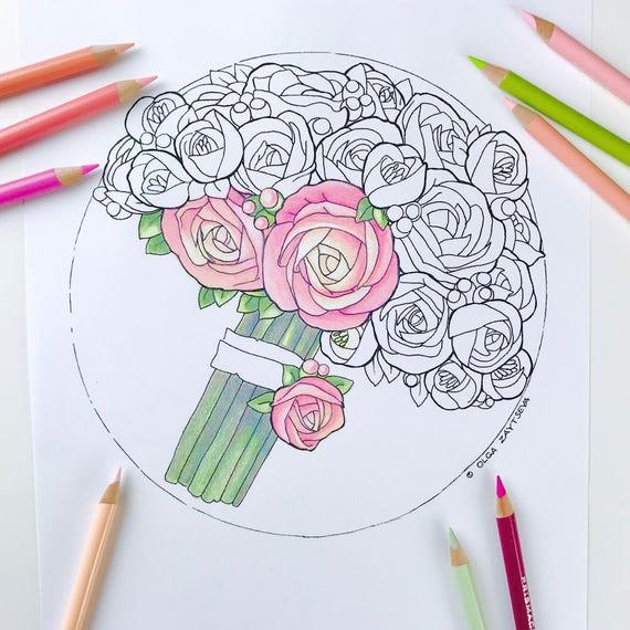 Kleurplaten Beterschap Bloemen.Volwassen Kleurplaten Pagina Rozen Bloem Kleurplaat Voor Volwassenen Digitale Kleuren Hand Getekende Bloemen Lijnen Door Olga Zajtseva