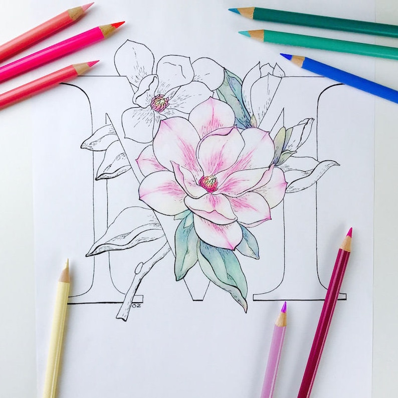 Flower Alphabet Coloring Page Magnolia Coloring Page Etsy