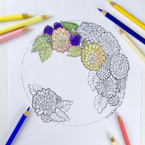Kleurplaten Herfst Bloemen.Volwassen Kleurplaten Pagina Herfst Bloemen Chrysanten Etsy