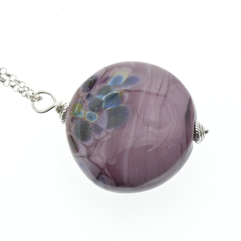 Purple Swirls and Cubic Zirconia Glass Bead Ladies Pendant on a Silver Chain