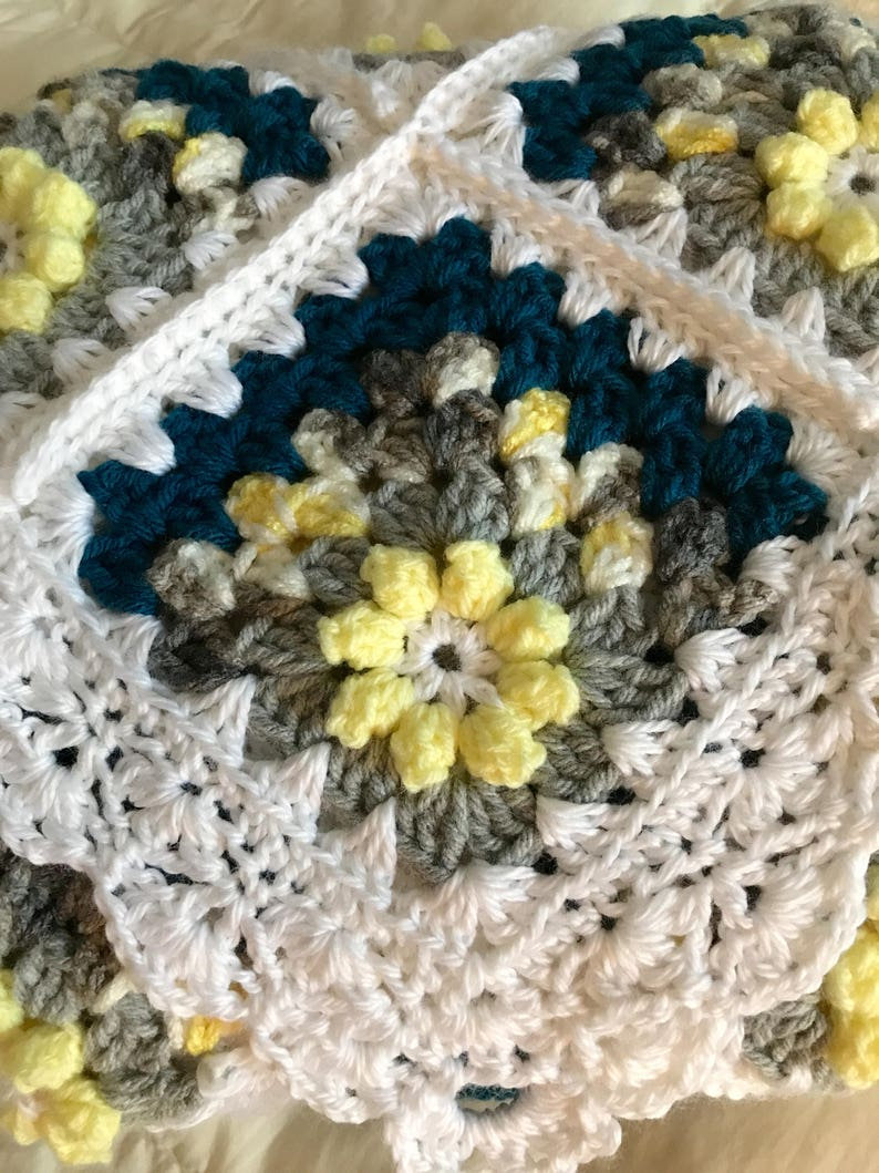 Handcrafted crochet baby Afghan blanket and hat and booties set  in yellow gray turqoise