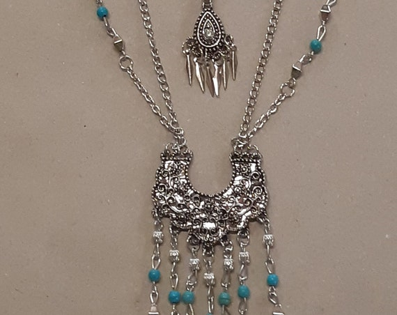 """Collier sautoir multi rangs argenté turquoise fantaisie collection """"amérindien"""""""