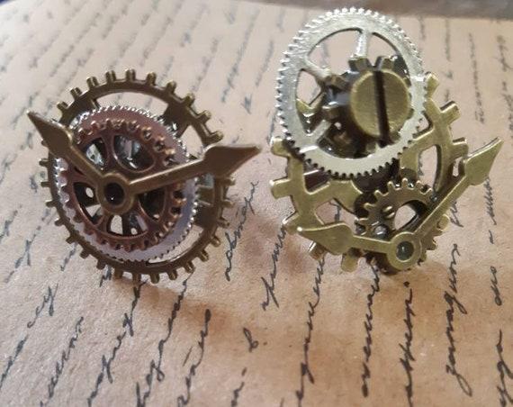 """Bagues steampunk """"l'espace d'un instant"""" rouages et horlogerie réglables bronze argenté"""