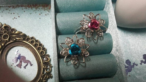 Rings Silver Flower Pink (Fuchsia) Indian and turquoise blue, adjustable (adjustable size)
