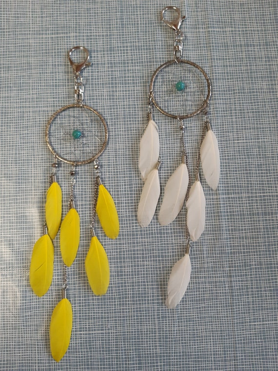 Attrape rêves argenté, jaune ou blanc, coeur perle turquoise, attache mousqueton