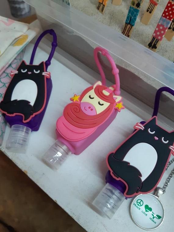 Rechargeable ! unicorn and black cat skin alcoholic gel / Gel hydro alcoolique habillement licorne et chat noir - féline fine