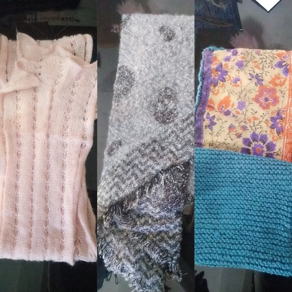 Crafted stoles and scarves, duck blue, skulls and dredged pink