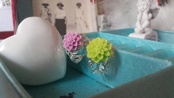 Rings Silver model lace and dahlia, adjustable (adjustable size)