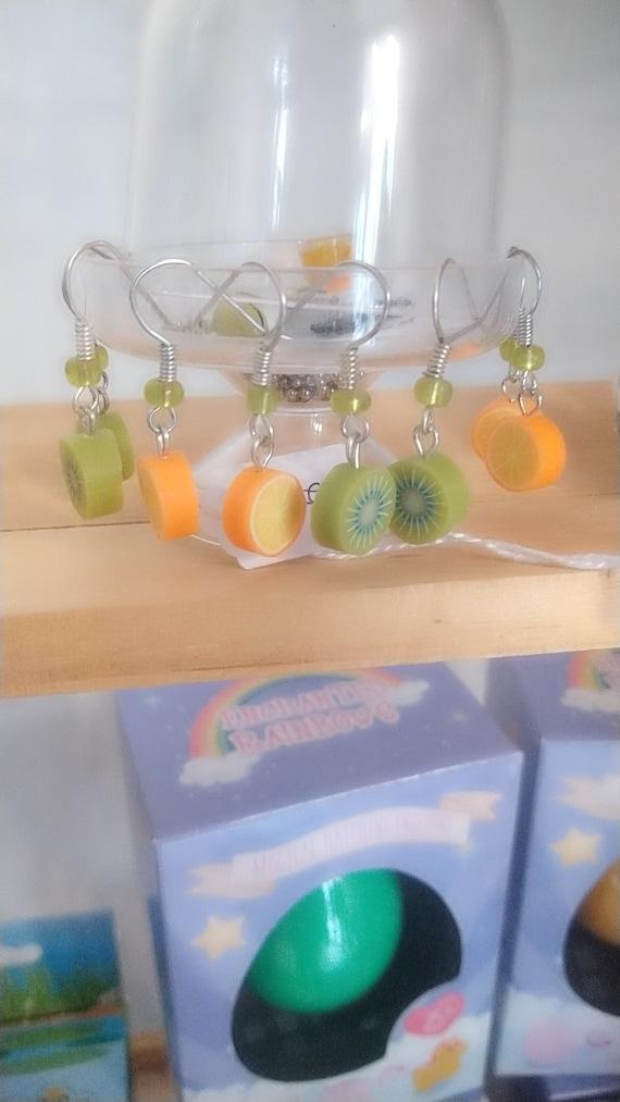 Kiwi and orange gourmet earrings