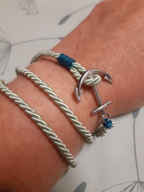 Bracelet en corde et ancre marine, triple rang
