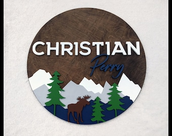 """Woodland Moose Nursery Name Sign 