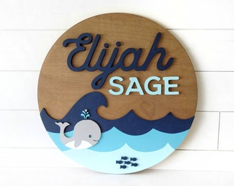 """Ocean Whale Theme Wooden Name Sign 