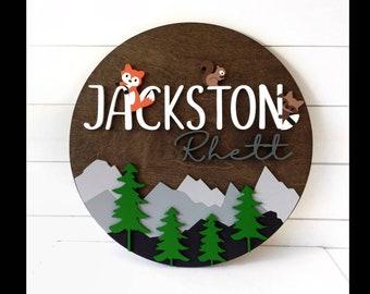 "Woodland Peeking Animals Nursery Name Sign | 18"" 24"" 30"" Wooden Round Personalized | Mountain Round Wall Decor |Girl Boy Baby Shower Gift"