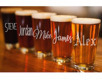 Pint Glass, Etched Pint Glass, Monogram Pint Glass, Custom Pint Glass Personalized Pint Glass, Gifts for Him, Beer Glass, Wedding Pint Glass
