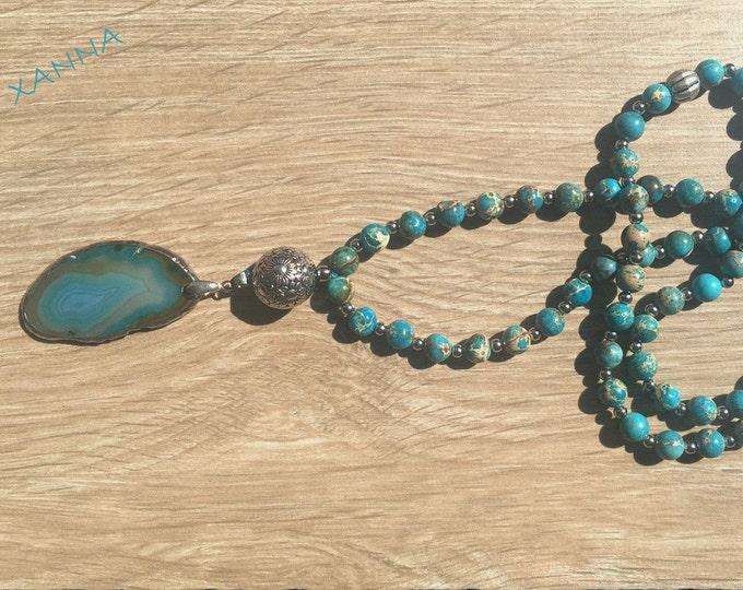 Semi-precious/piedras CAPRI necklace/Turquoise Imperial jasper/Turquoise Agate Pendant/Elegant Casual chic Boho