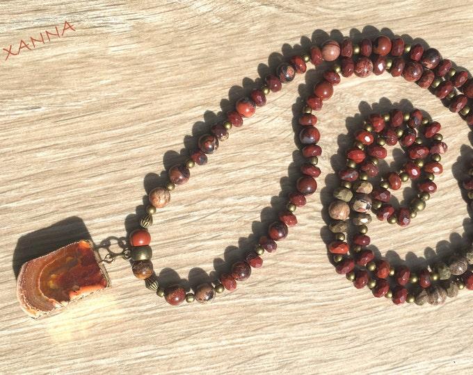 Semi-precious/piedras boiler necklace/Brown Jasper Kettle/Druze agate pendant/boho chic elegant Casual