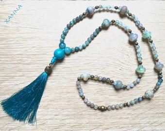 TOSSA/piedras semi-precious necklace/turquoise Agate-blue-green/tassel/boho chic, elegant, casual