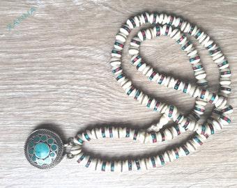 Nepal-Afghan necklace/cuentas Rosary Bone Nepal/Afghan amulet/ethnic chic boho, Hyppie, elegant, casual