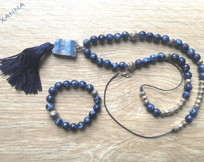 Necklace BLUENIGHT/piedras Semi-precious/faceted facet/drusen agate pendant/tassel/boho chic elegant Casual