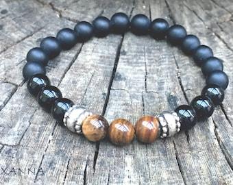 XANNA STONE bracelet (03) / semiprecious/matt-gloss onyx and tiger's eye/casual elegant