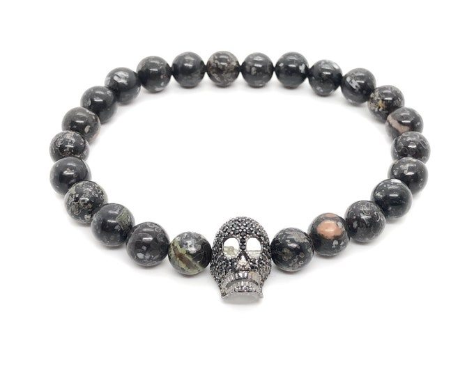 BOTH Bracelet (28) /semi-precious stones/plum flower jasper and skull-piece in black pavé/casual elegant