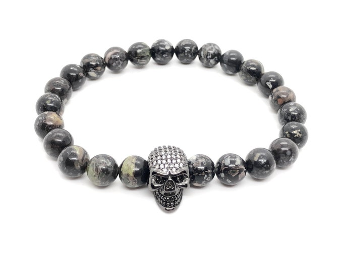 BOTH bracelet (29) /semi-precious stones/plum flower jasper and stun skull in pavé/elegant casual