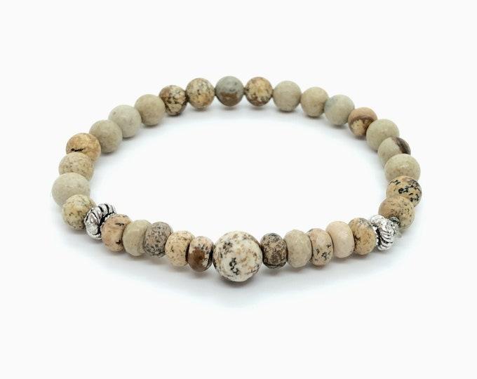 BAZAR bracelet / semiprecious stones /jasper wood/boho chic casual elegant