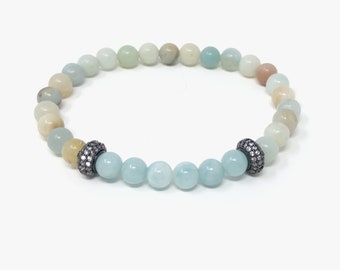 KERAMA bracelet / semiprecious/amazonite stones and pavé/boho chic entrees, elegant and informal