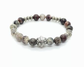 SAND bracelet /semiprecious stones / silver leaf/boho chic, elegant and casual