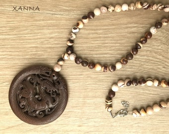 Semi-precious/piedras DRAC necklace/brown and white bamboo jasper/Oriental Brown Jade Medallion/elegant Casual chic Boho