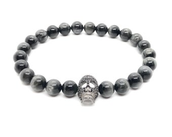 BOTH bracelet (26) /semi-precious stones/hawk's eye and black pavé skull/casual elegant