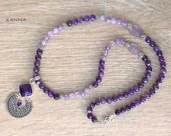 INDIAN Necklace /Semiprecious Stones/Amethyst/Ethnic Style Pendant with Amethyst/Boho Chic Chic Elegant