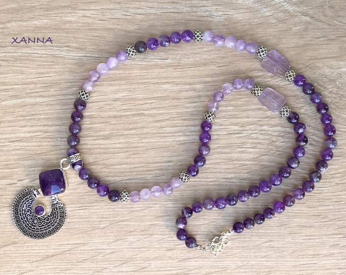 INDIAN Necklace /Semiprecious Stones/Amethyst/Ethnic Style Pendant with Amethyst/Boho Chic Chic Elegant