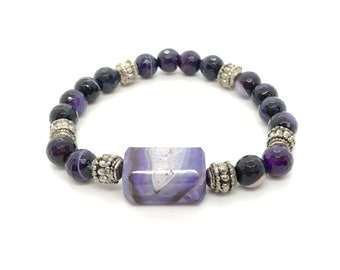 VÉRAN/piedras semi-precious bracelet/lilac agate/Elegant boho chic casual
